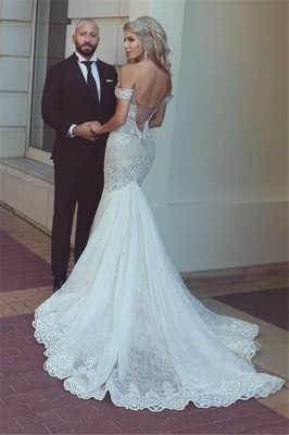 Sexy Mermaid Lace Off-the-Shoulder Wedding Dresses UK Open Back Bridal Gowns BA7275_3
