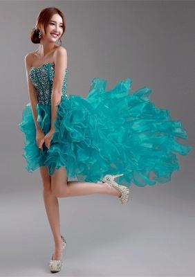 Elegant Ruffles Crystals Hi-Lo Prom Dress UK Sweep Train Sweetheart_1