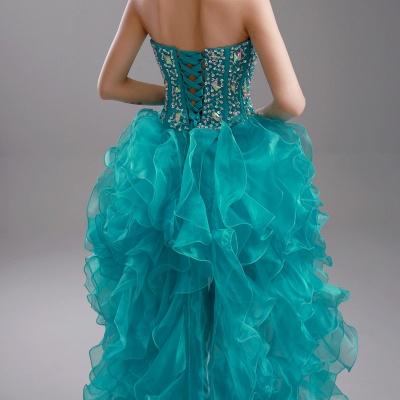 Elegant Ruffles Crystals Hi-Lo Prom Dress UK Sweep Train Sweetheart_6