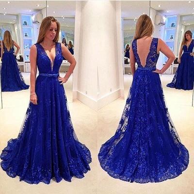 Sexy V-Neck Sleeveless Evening Dress UK Royal Blue Lace Appliques_3