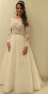 Elegant Lace Appliques A-line Wedding Dress Zipper Button Back_2