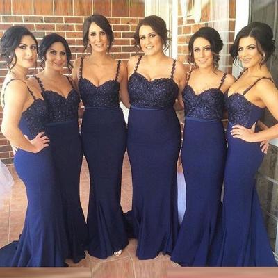 Luxury Navy Spaghetti Strap Bridesmaid Dress UK Lace Beadings Long Wedding Party Dress UK_4