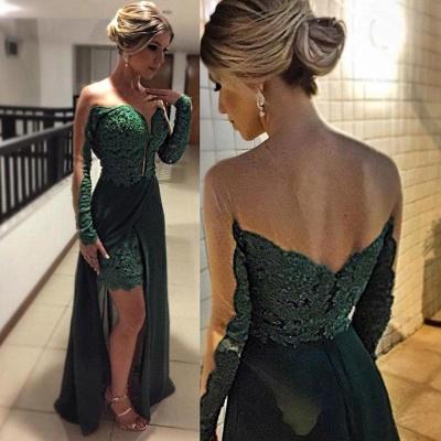 Sexy Long Sleeve Green Evening Dress UKes UK Skirt Long Lace Appliques_3
