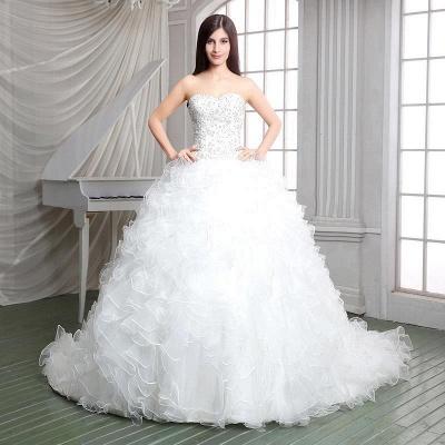 Newest White Ruffles Beadss Wedding Dress Sweetheart Sleeveless_3
