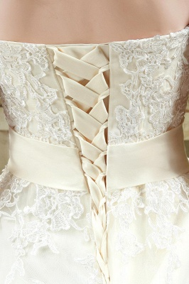 Newest Sweetheart Lace Appliques Wedding Dress Bowknot Sweep Train_6