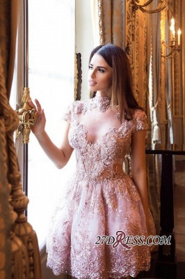 Occasion Lace Sexy Short Special Pink Long-Sleeve High-Neck Homecoming Dress UKes UK BA7055_6