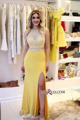 Yellow Sheath Silt-Side Jewel Beading Sleeveless Brilliant Prom Dreses_3