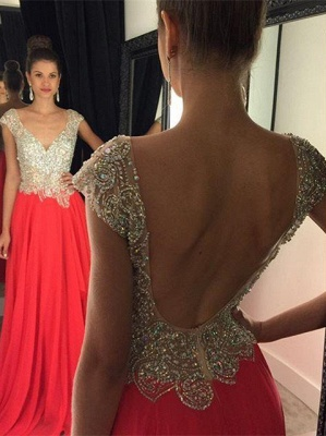 Luxury Crystal Open Back Evening Dress UK Cap Sleeve Long Chiffon Prom Gown_1