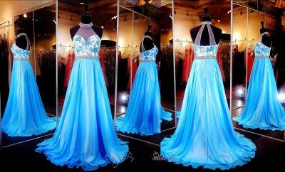 Elegant Halter A-line Evening Dress UK Lace Appliques Zopper_4