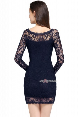 Sheath Long-Sleeves Lace Navy-Blue Sexy Cocktail Dress UK_4