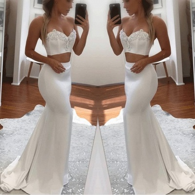 White Two Pieces Prom Dress UK | Mermaid Appliques Long Evening Gowns_3