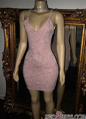 Short Sequins Pretty Spaghetti-Straps Tight Homecoming Dress UK_4