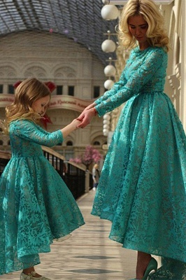 Modern Jewel Long Sleeve Hi-Lo Mother And Daughter Dress Lace Zipper_1
