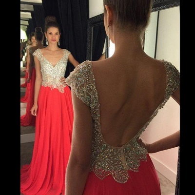 Luxury Crystal Open Back Evening Dress UK Cap Sleeve Long Chiffon Prom Gown_4