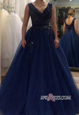 Applique Beading A-line V-neck Floor-length Tulle Evening Dress UK_2