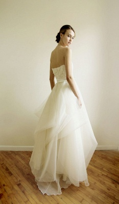 Fashion Sweetheart Lace Wedding Dress Tulle Floor Length_3