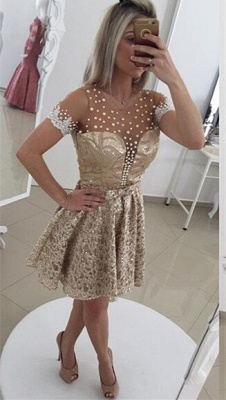 Gorgeous Pearls Lace Cocktail Dress UK Illusion Short Sleeve BT0_1