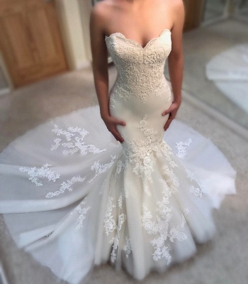 Elegant Summer Sexy Mermaid Wedding Dresses UK Sweetheart Neck Appliques Sleeveless Bridal Gowns_3