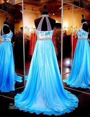 Elegant Halter A-line Evening Dress UK Lace Appliques Zopper_3