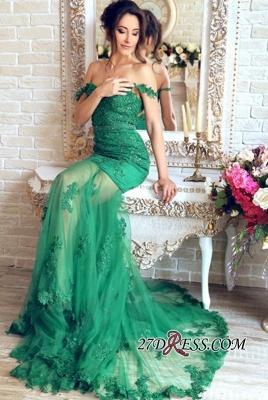 Sheer-Skirt Appliques Green Luxury Off-the-Shoulder Mermaid Prom Dress UK PT0350_4