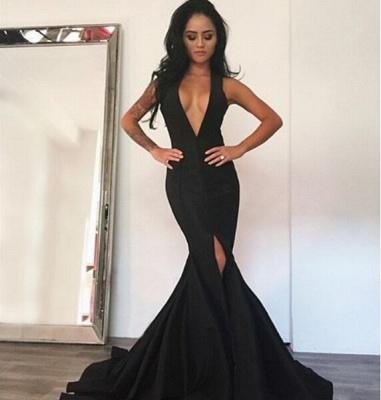 Elegant Black Deep V-Neck Prom Dress UK Mermaid Front Split_3