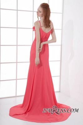 Open-Back Elegant Long-Train Sleeveless Chiffon Straps V-neck Bridesmaid Dress UKes UK_4