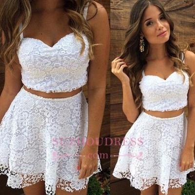 Lace A-line White Top Short Two-Piece-Summer-Women-Dress UK_1