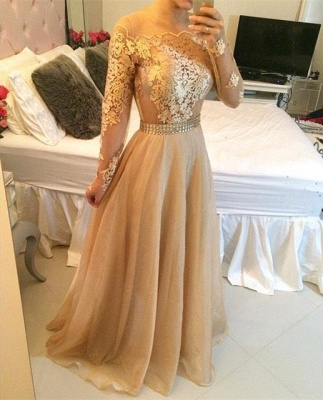 Stunning Long Sleeve A-Line Prom Dress UKes UK Long Women's Evening party Gowns_2