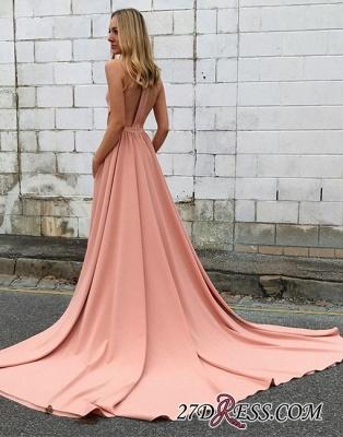 Simple Sleeveless Pink Halter Sweep-trian A-line Evening Dress UK_3