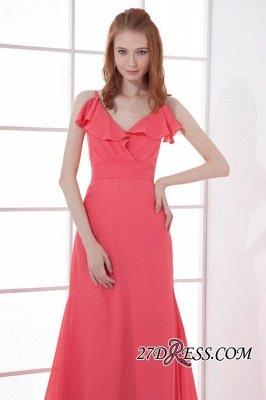 Open-Back Elegant Long-Train Sleeveless Chiffon Straps V-neck Bridesmaid Dress UKes UK_3