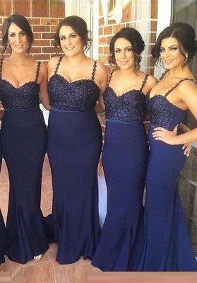 Luxury Navy Spaghetti Strap Bridesmaid Dress UK Lace Beadings Long Wedding Party Dress UK_1