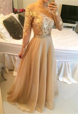 Stunning Long Sleeve A-Line Prom Dress UKes UK Long Women's Evening party Gowns_1