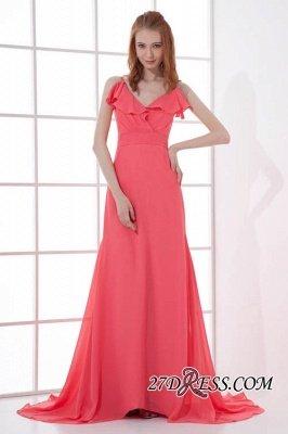 Open-Back Elegant Long-Train Sleeveless Chiffon Straps V-neck Bridesmaid Dress UKes UK_6