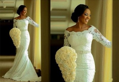 Elegant Half-Sleeve Lace Wedding Dress Sexy Mermaid Crystal Bow Back_3