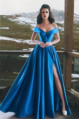 Blue Off-the-Shoulder Prom Dress UK | Long Evening Gowns With Slit BA8863_1