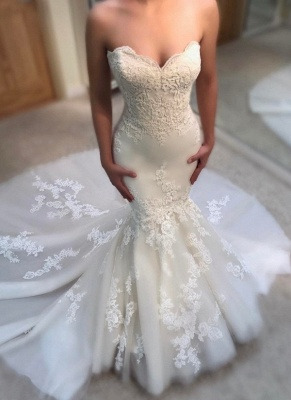 Elegant Summer Sexy Mermaid Wedding Dresses UK Sweetheart Neck Appliques Sleeveless Bridal Gowns_1