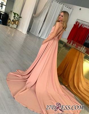 Simple Sleeveless Pink Halter Sweep-trian A-line Evening Dress UK_1