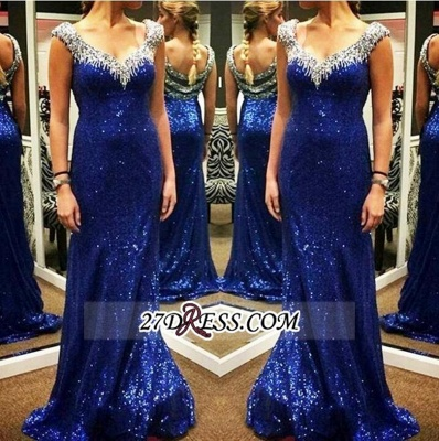 Arrival Sparkly Sheath V-neck Sexy Sequins Blue New Evening Dress UKes UK_1