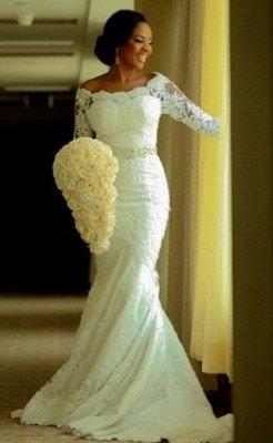 Elegant Half-Sleeve Lace Wedding Dress Sexy Mermaid Crystal Bow Back_1