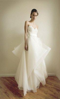 Fashion Sweetheart Lace Wedding Dress Tulle Floor Length_4