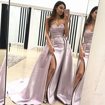 Luxury Sweetheart Evening Dress UK   2019 Lace Appliques Prom Dress UK With Slit BA9853_3