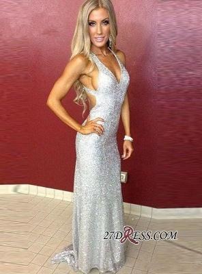 Mermaid Long Sequined Sleeveless Newest Straps Prom Dress UK_3