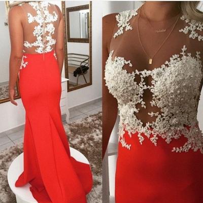 Luxury Orange Sleeveless 2107 Prom Dress UK Lace Mermaid Evening Dress UK_3