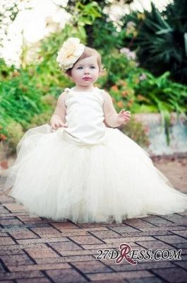 Sleeveless Scoop Tull Flower-Girl-Dresses Ball-Gown Pearls Pageant-Dress