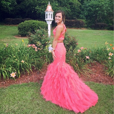 Luxury Two Pieces Mermaid Prom Dress UKes UK Appliques Beaidngs Tulle_6