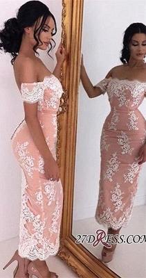 Elegant Tea-Length Bodycon Lace Off-the-shoulder Prom Dress UK_2