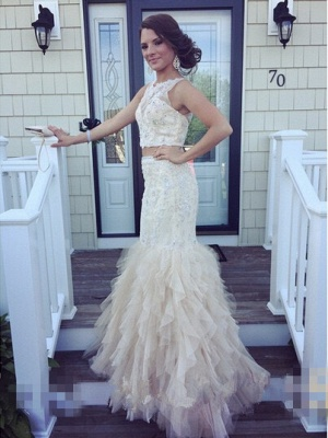 Luxury Two Pieces Mermaid Prom Dress UKes UK Appliques Beaidngs Tulle_1