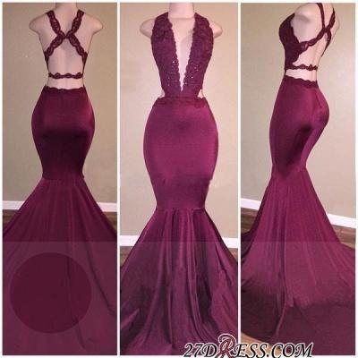 Cross-Back Mermaid Deep-V-Neck Beading Elegant Prom Dress UKes UK_1