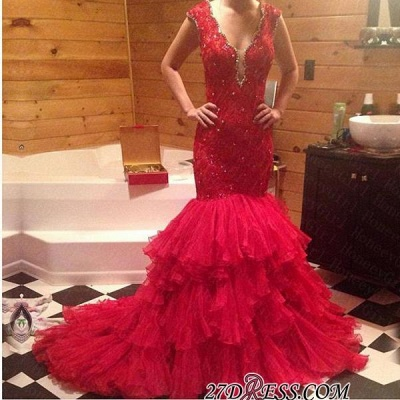 Tiered V-Neck Sleeveless Mermaid Beadings Red Prom Dress UK_1
