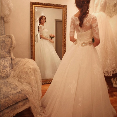 Elegant Half-Sleeve Tulle Lace Wedding Dresses UK A-Line With Crystal_4